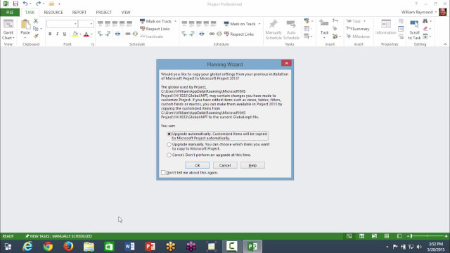 Run Microsoft Project for the First Time