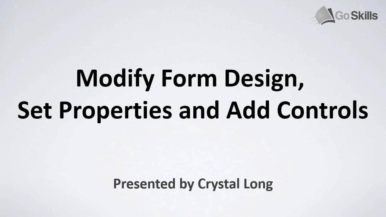 Modify Form Design
