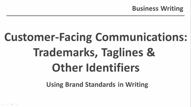 Trademarks, Taglines and Other Identifiers